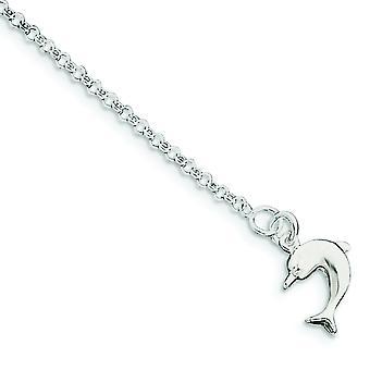 925 εξαιρετικά ασημένια κοίλα γυαλισμένα δώρα κοσμήματος δαχτυλιδιών άνοιξη αστραγάλων δελφινιών για τις γυναίκες-μήκος: 9 έως 10