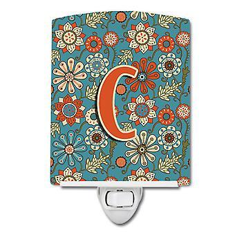 Carolines Treasures  CJ2012-CCNL Letter C Flowers Retro Blue Ceramic Night Light
