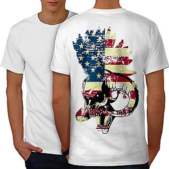 Los E.e.u.u. bandera Funk Metal WhiteT-camisa de los hombres hacia atrás | Wellcoda