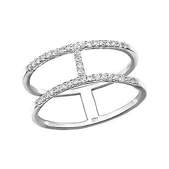 Doppelte Linie - 925 Sterling Silber jeweled Ringe - W30550X