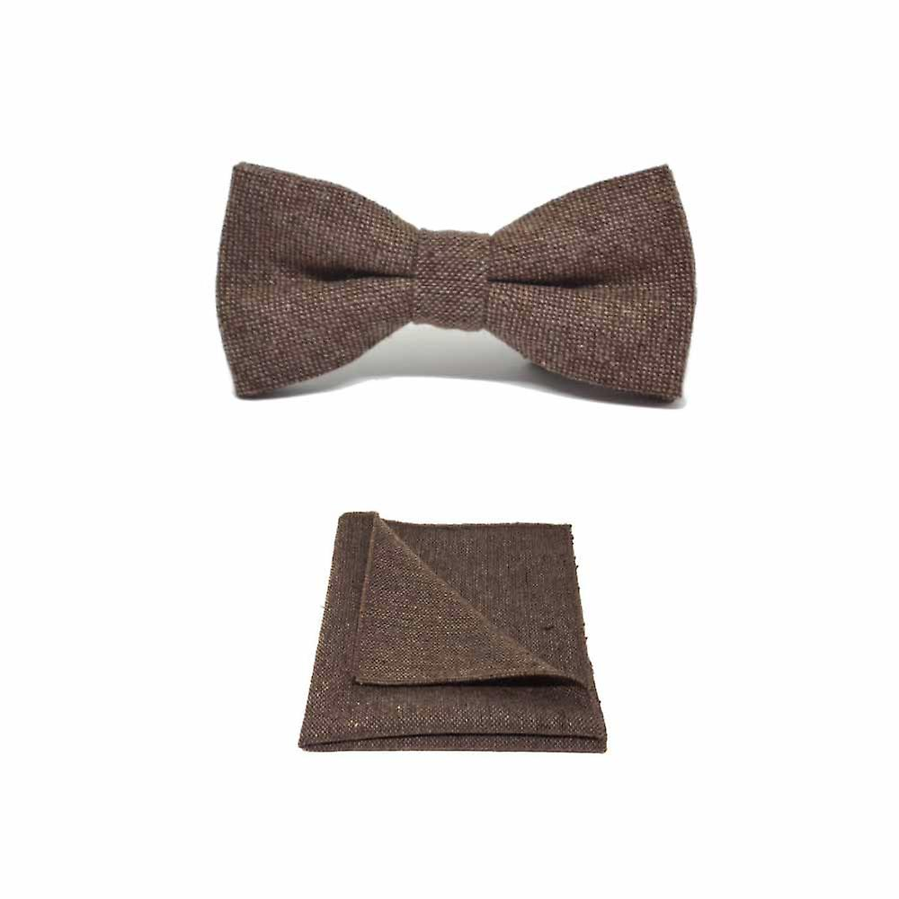 Highland Weave Hessian Brown Men's Bow Tie & Pocket Square Set