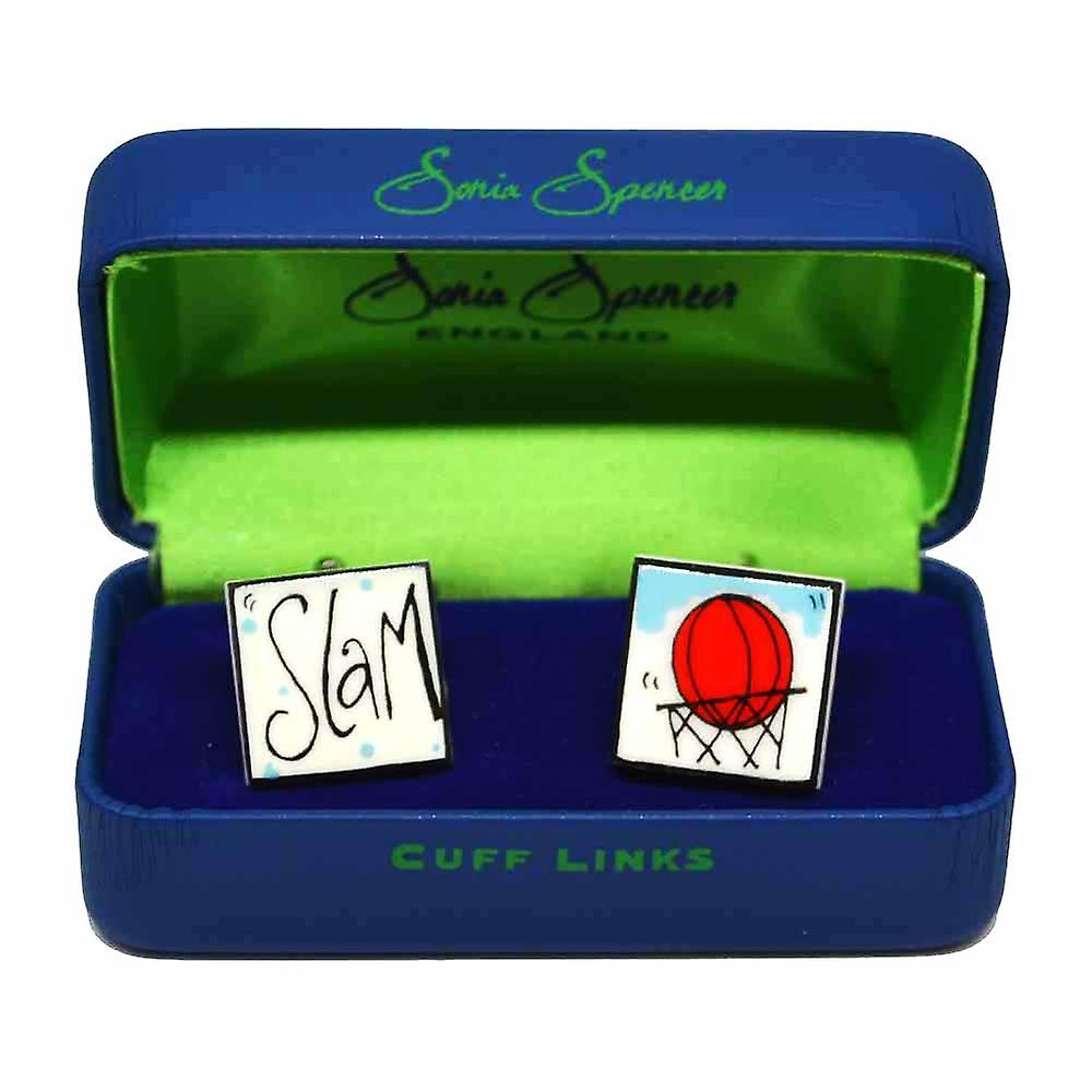 Slam Dunk Cufflinks by Sonia Spencer, in Presentation Gift Box. Basketball