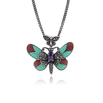 Art Nouveau Style Soikea Ametisti, Marcasite & Emali Butterfly kaulakoru 925 Sterling Hopea 214N634301925