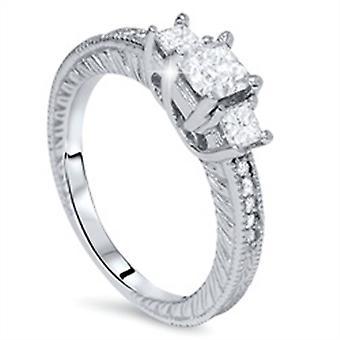 1ct Princess Cut Diamond Antique Ring 14K Gold