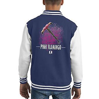 Fortnite Pink Flamingo Kid's Varsity Jacket