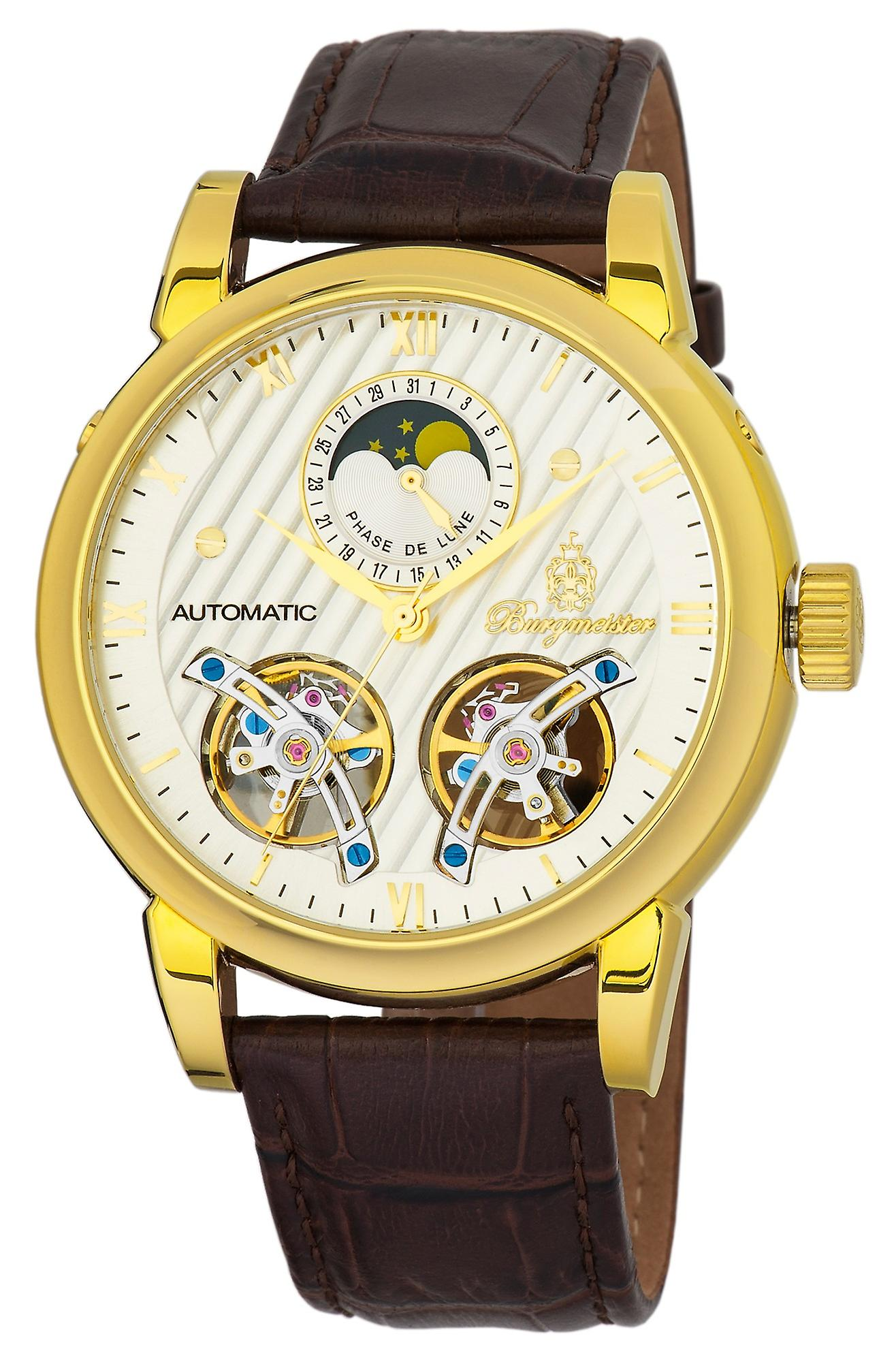 Burgmeister BM238-285 Thornton, Gents automatic watch, Analogue display - Water resistant, Stylish leather strap, Classic men's watch