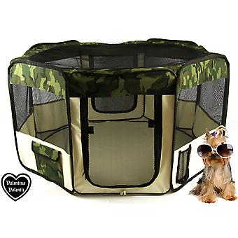 FABRIC FOLDING PET PLAY PEN FOR CATS AND DOGS ヨ SMALL ヨ CAMOUFLAGE PATTERN - S