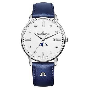 Maurice Lacroix Eliros Moonphase sininen nahka hihna Silver Dial EL1096-SS001-150-1 katsella