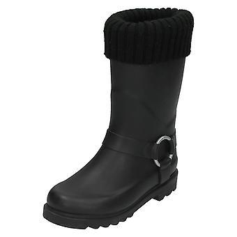 Girls Spot On Ring Strap Wellington Boots