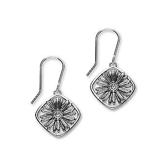 September Sterling Silver Traditional Birth Flower Shaped Design Pair of Earrings