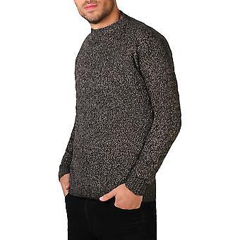 KRISP Mens Soft Wool Knitted Round Crew Neck Warm Jumper Sweater Grandad Pullover Top