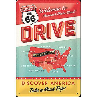 Route 66 ajaa kohokuvioitu teräksen merkki (300 X 200 Mm)