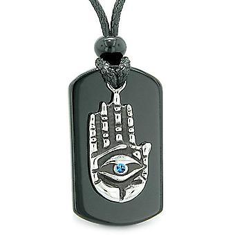 Tous voir se sentant Tag bleu pendentif en cristal collier d'Agate pouvoirs Bouddha Eye Magic Hamsa