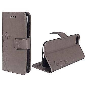 携帯電話アップル iPhone 8 グレー用保護カバー花
