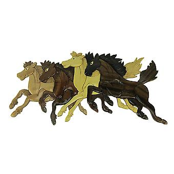 Hand Carved Wood Art Wild Horses Running Wall Hanging