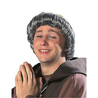 Mönchsglatze grau Herren Perücke Haarkranz Accessoire Karneval Halloween