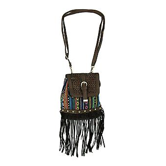 Gabby Gypsy Fringe Festival Stripe Crossbody Bag