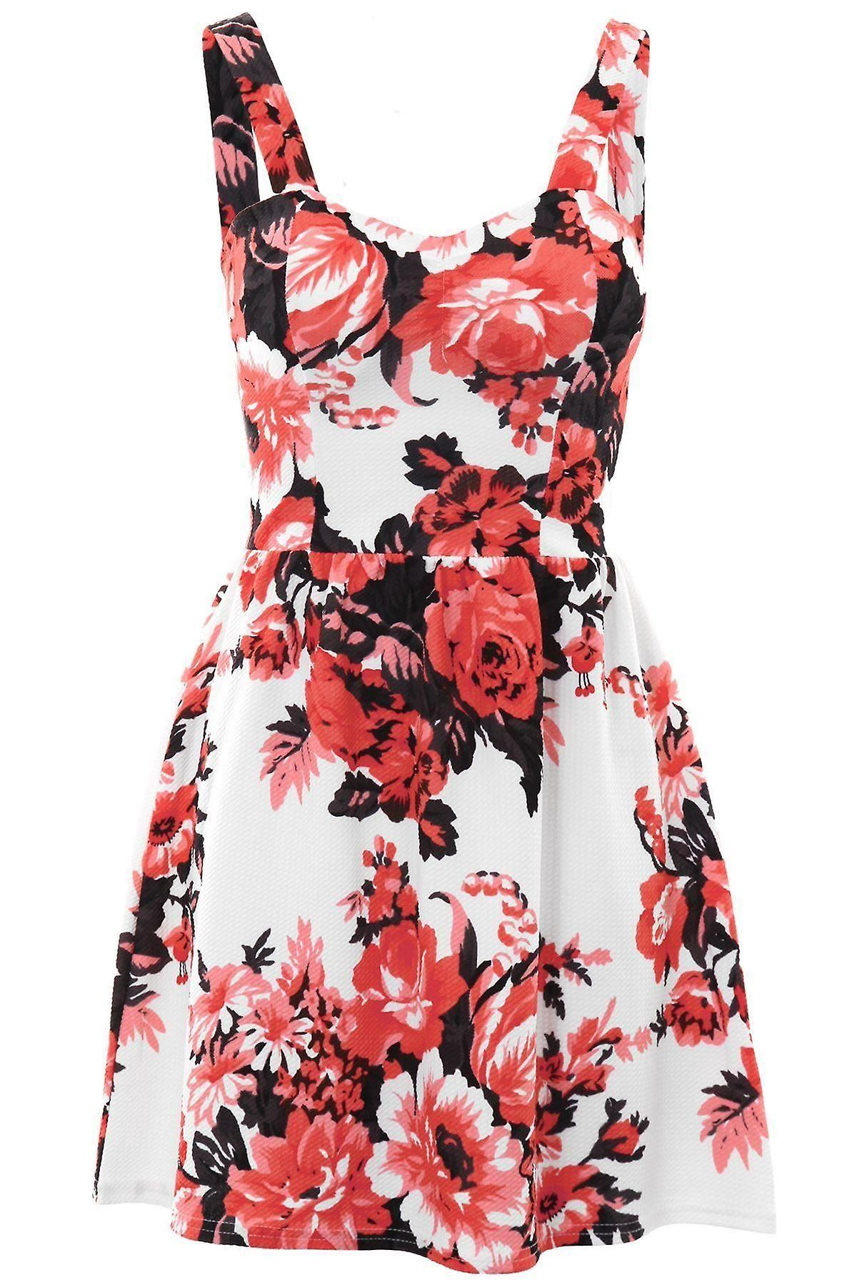 Ladies Sleeveless Padded Bra Cups Textured Crepe Floral Skater Flare Party Dress