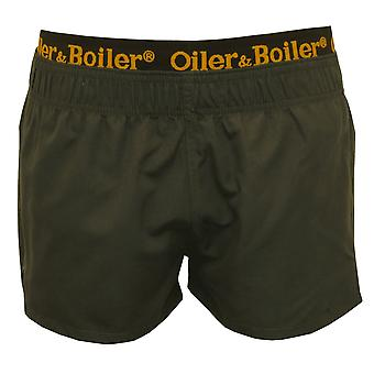 Oiler & Boiler Limited Edition Double Waistband Swim Shorts, Charcoal Black/gold