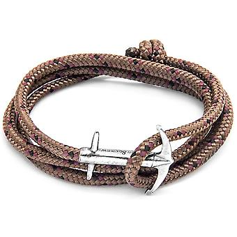 Anchor and Crew Admiral Silver and Rope Bracelet - Brown