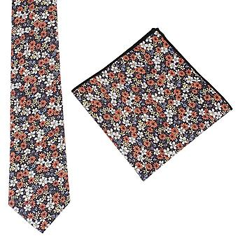 Knightsbridge Neckwear Busy Floral Tie and Pocket Square Set - Brown/Yellow/Orange