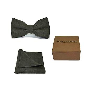 Highland Weave Forest Green Men's Bow Tie & Pocket Square Set | Boxed