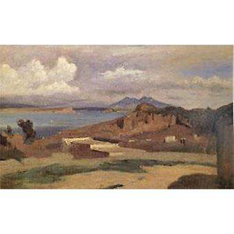 Ischia, View from the Slopes, Jean Baptiste Camille Corot, 26x40cm