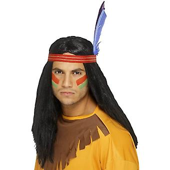 Long Black Straight Wig, Indian Brave Wig, With Headband And Feather.