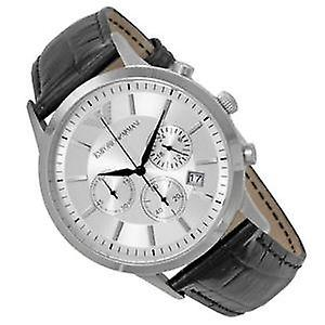 Armani classic chronograph silver dial black leather men's watch ar2432.