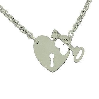 TOC Sterling Argento Cuore Lock & Chiave T-Bar Collana 17