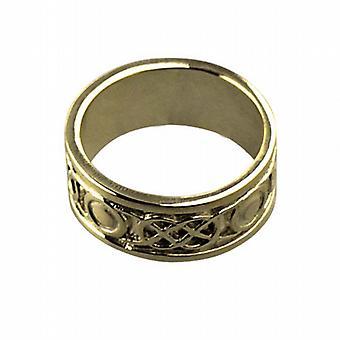 18 قيراط الذهب 8 مم سلتيك خاتم الزواج حجم Q