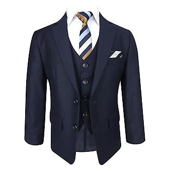 Flamingo Boys Navy Blue Tailored Fit Suit Set