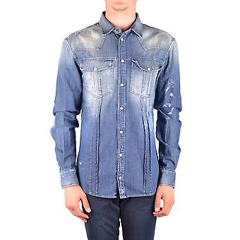 Balmain Ezbc005014 Men's Blue Cotton Shirt