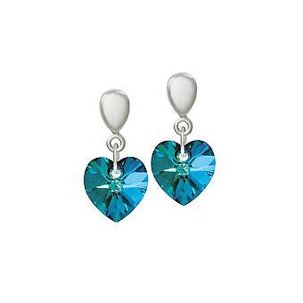 Wieczne kolekcji Amour Bermuda Blue kryształowe serce srebrny odcień Drop klipsy