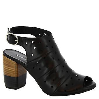 Leonardo schoenen vrouwen handgemaakte hak sandalen in zwarte opengewerkte leer