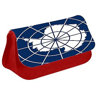 Antarctica Flag Printed Design Pencil Case for Stationary/Cosmetic - 0198 (Red) by i-Tronixs