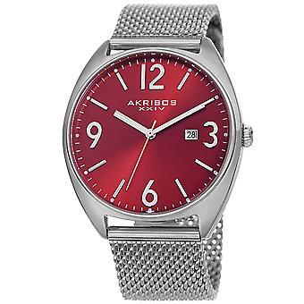 Akribos XXIV hommes AK1026 quartz date Sunray cadran argent maille bracelet montre AK1026RD