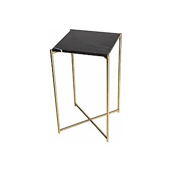Gillmore Black Marble Square Lamp Table With Brass Cross Base