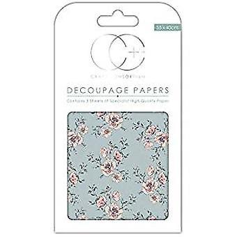 "Craft Consortium Decoupage Papers 13.75""X15.75"" 3/Pkg-Rose Bloom"