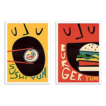 2 Art-Posters - Sushi and Burger - Fox and Velvet