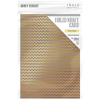 Craft Perfect par Tonic Studios A4 Foiled Craft Card Golden Zigzag
