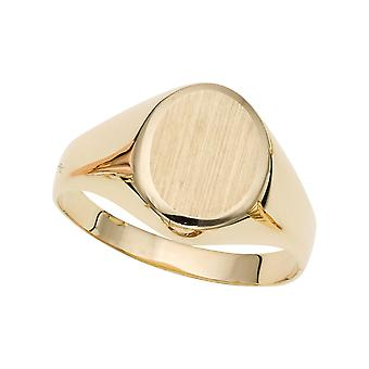 14k Yellow Gold Oval Disc Signet Womens Ring, 7