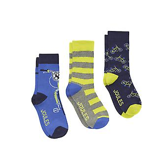 Joules Junior Boys Bamboo/cotton Pack Of 3 Socks