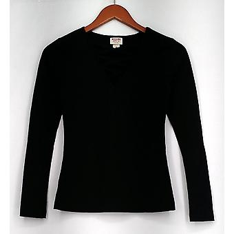 Mossimo Long Sleeve Stretch Knit V-Neck Tie Front Detail Top Black