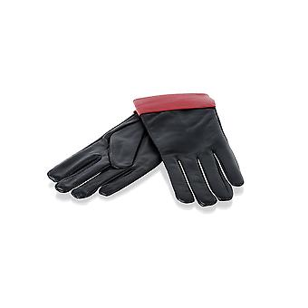 Ladies Black With Red Contrast Leather Gloves