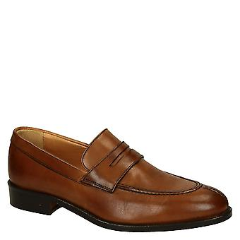 Leonardo Shoes Men's handmade penny loafers shoes in brown calf leather