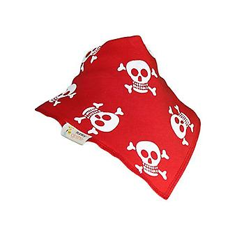 Plain röd & medan jolly rogers bandana bib