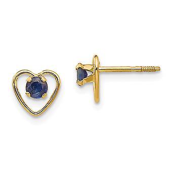 14k Gul guld poleret skrue tilbage Post Øreringe 3mm Sapphire Heart for drenge eller piger Øreringe Foranstaltninger 6x6mm