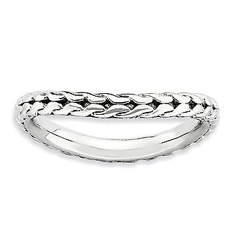 2.25mm 925 Sterling Silver Patterned Rhodium plated Stackable Expressions Polished Rhodium plate Wave Ring Jewely Gifts