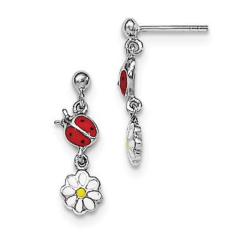925 Sterling Silver Rh Plated for boys or girls Enameled Ladybug and Daisy Earrings - 2.5 Grams